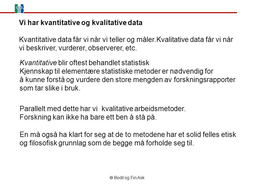  Bodil og Fin Ask Vi har kvantitative og kvalitative data Kvantitative data får vi når vi teller og måler.Kvalitative data får vi når vi beskriver, vurderer, observerer, etc.