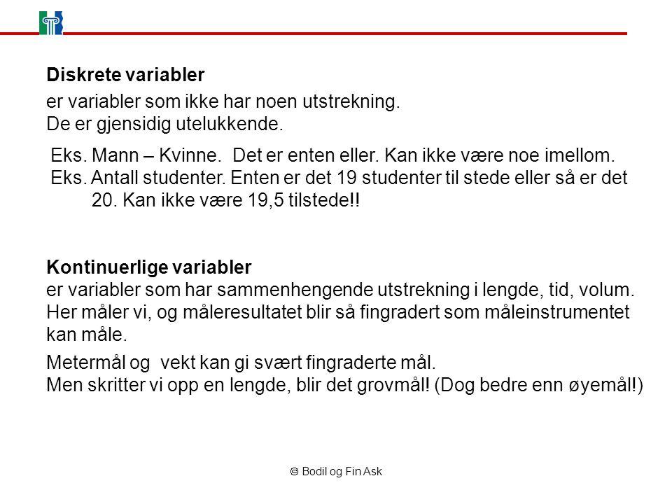  Bodil og Fin Ask Diskrete variabler er variabler som ikke har noen utstrekning. De er gjensidig utelukkende. Kontinuerlige variabler er variabler so