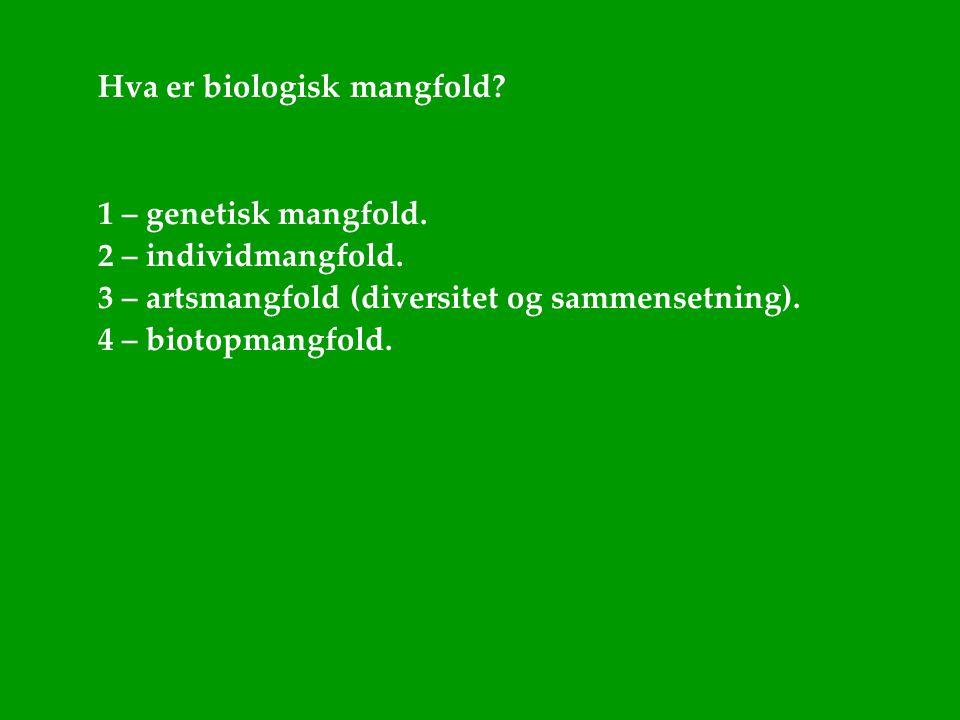 Hva er biologisk mangfold? 1 – genetisk mangfold. 2 – individmangfold. 3 – artsmangfold (diversitet og sammensetning). 4 – biotopmangfold.