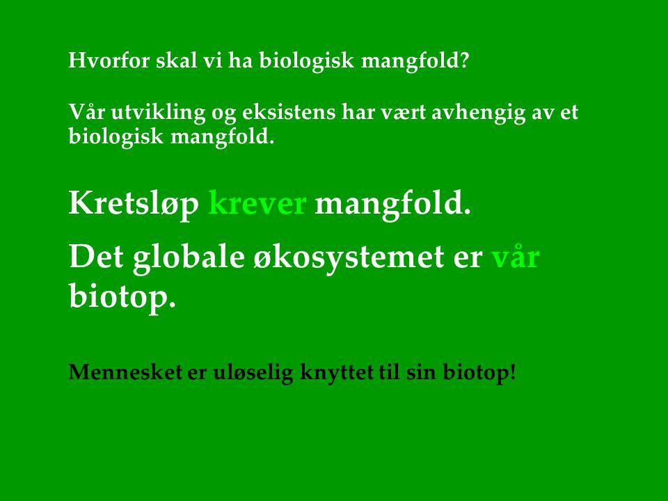 Hvorfor skal vi ha biologisk mangfold? Vår utvikling og eksistens har vært avhengig av et biologisk mangfold. Kretsløp krever mangfold. Det globale øk