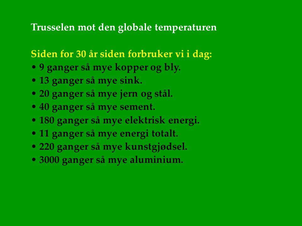 Trusselen mot den globale temperaturen Siden for 30 år siden forbruker vi i dag: • 9 ganger så mye kopper og bly. • 13 ganger så mye sink. • 20 ganger