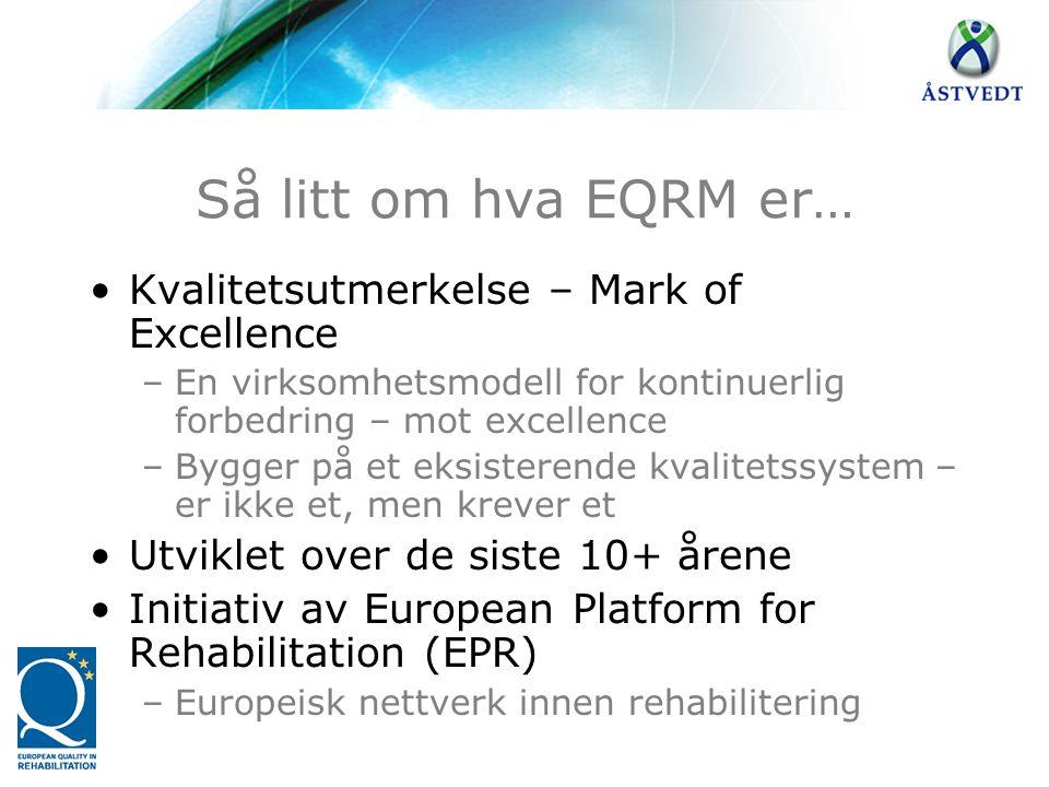 Så litt om hva EQRM er… •Kvalitetsutmerkelse – Mark of Excellence –En virksomhetsmodell for kontinuerlig forbedring – mot excellence –Bygger på et eks