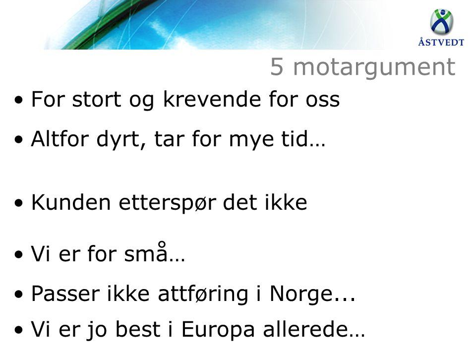 5 motargument •For stort og krevende for oss •Altfor dyrt, tar for mye tid… •Kunden etterspør det ikke •Vi er for små… •Passer ikke attføring i Norge.