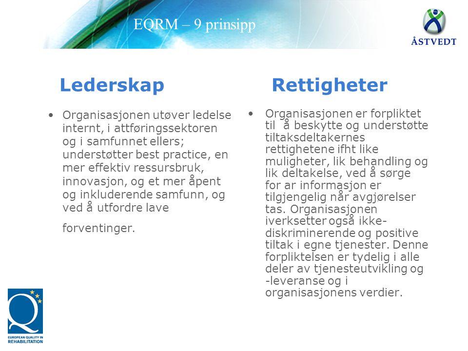 Lederskap Rettigheter •Organisasjonen utøver ledelse internt, i attføringssektoren og i samfunnet ellers; understøtter best practice, en mer effektiv