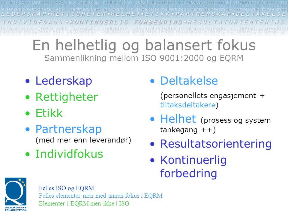 En helhetlig og balansert fokus Sammenlikning mellom ISO 9001:2000 og EQRM •Lederskap •Rettigheter •Etikk •Partnerskap (med mer enn leverandør) •Indiv
