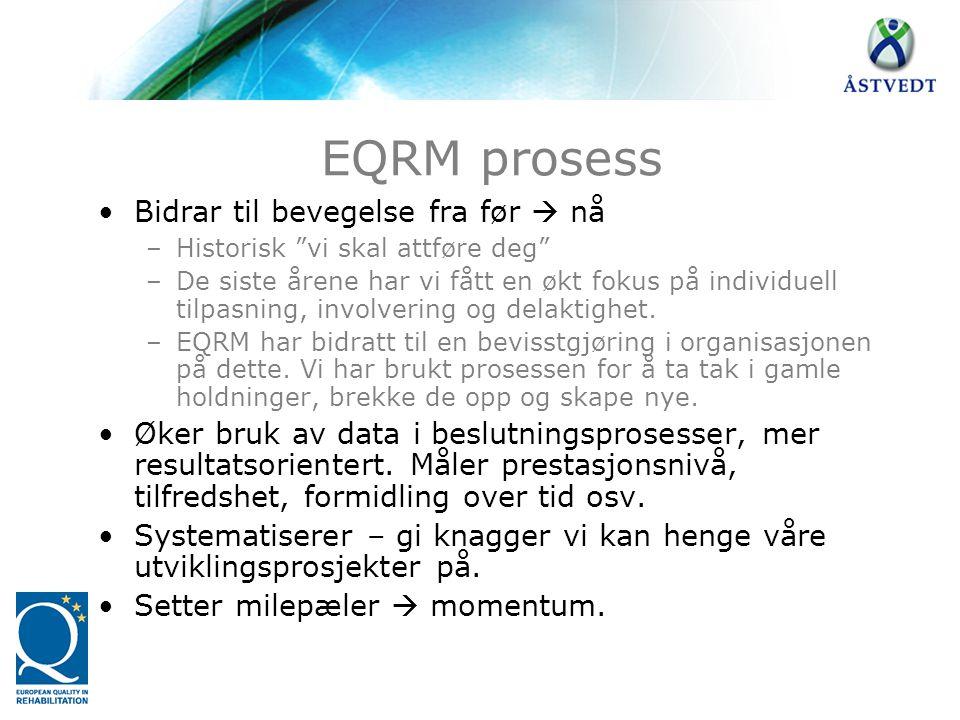 """EQRM prosess •Bidrar til bevegelse fra før  nå –Historisk """"vi skal attføre deg"""" –De siste årene har vi fått en økt fokus på individuell tilpasning, i"""