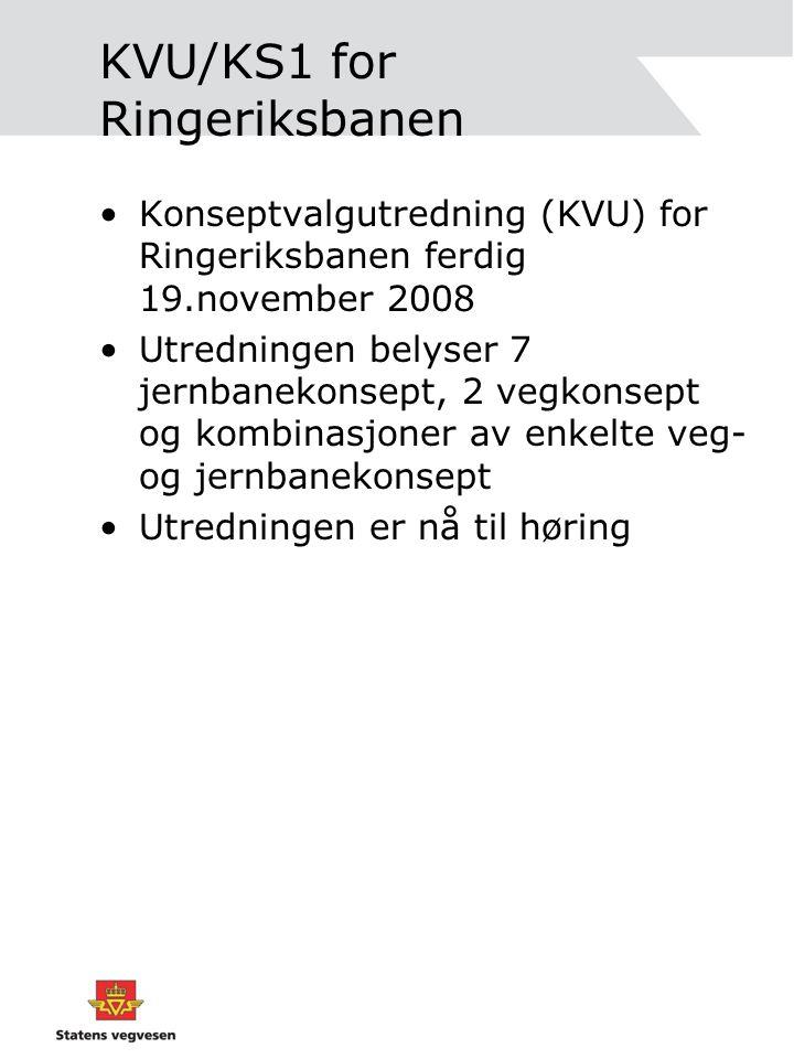 KVU/KS1 for Ringeriksbanen •Konseptvalgutredning (KVU) for Ringeriksbanen ferdig 19.november 2008 •Utredningen belyser 7 jernbanekonsept, 2 vegkonsept