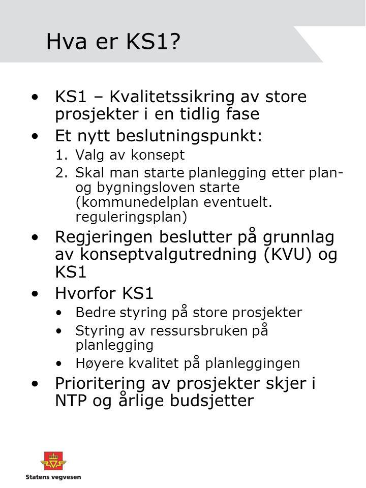 Hva er KS1? •KS1 – Kvalitetssikring av store prosjekter i en tidlig fase •Et nytt beslutningspunkt: 1.Valg av konsept 2.Skal man starte planlegging et