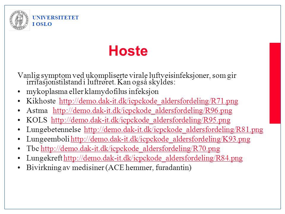 UNIVERSITETET I OSLO Hoste Vanlig symptom ved ukompliserte virale luftveisinfeksjoner, som gir irritasjonstilstand i luftrøret. Kan også skyldes: •myk