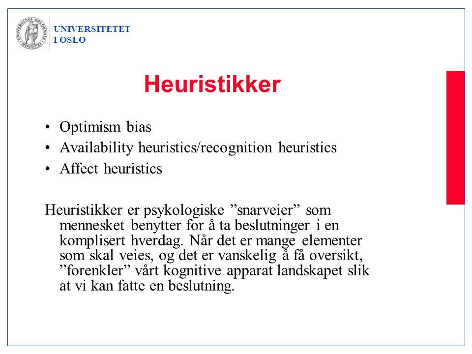 "UNIVERSITETET I OSLO Heuristikker •Optimism bias •Availability heuristics/recognition heuristics •Affect heuristics Heuristikker er psykologiske ""snar"