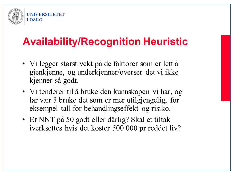 UNIVERSITETET I OSLO Availability/Recognition Heuristic •Vi legger størst vekt på de faktorer som er lett å gjenkjenne, og underkjenner/overser det vi