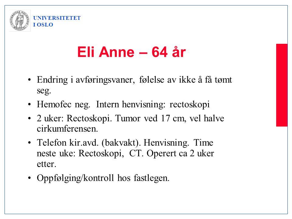 UNIVERSITETET I OSLO Eli Anne – 64 år •Endring i avføringsvaner, følelse av ikke å få tømt seg. •Hemofec neg. Intern henvisning: rectoskopi •2 uker: R