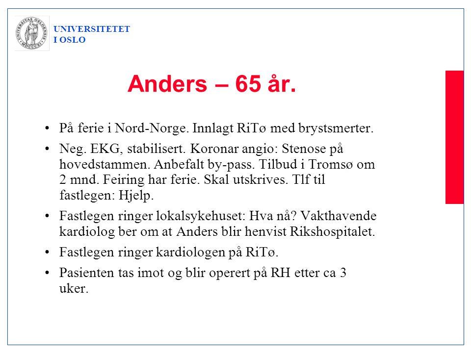 UNIVERSITETET I OSLO Anders – 65 år. •På ferie i Nord-Norge. Innlagt RiTø med brystsmerter. •Neg. EKG, stabilisert. Koronar angio: Stenose på hovedsta