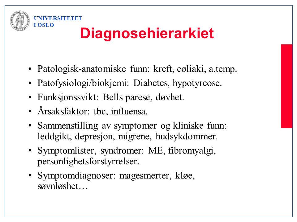 UNIVERSITETET I OSLO Diagnosehierarkiet •Patologisk-anatomiske funn: kreft, cøliaki, a.temp. •Patofysiologi/biokjemi: Diabetes, hypotyreose. •Funksjon