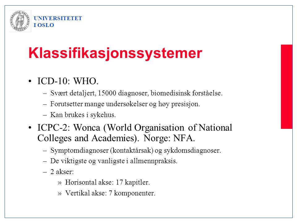UNIVERSITETET I OSLO Klassifikasjonssystemer •ICD-10: WHO. –Svært detaljert, 15000 diagnoser, biomedisinsk forståelse. –Forutsetter mange undersøkelse
