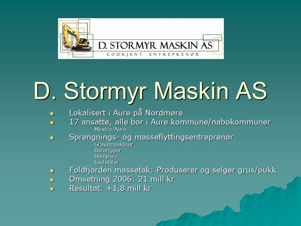 D. Stormyr Maskin AS  Lokalisert i Aure på Nordmøre  17 ansatte, alle bor i Aure kommune/nabokommuner Mexico/Aure  Sprengnings- og masseflyttingsen