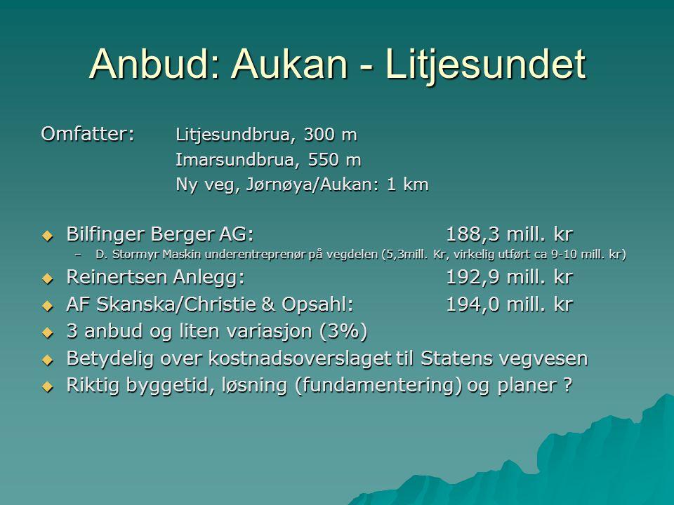 Anbud: Aukan - Litjesundet Omfatter: Litjesundbrua, 300 m Imarsundbrua, 550 m Ny veg, Jørnøya/Aukan: 1 km  Bilfinger Berger AG:188,3 mill. kr –D. Sto