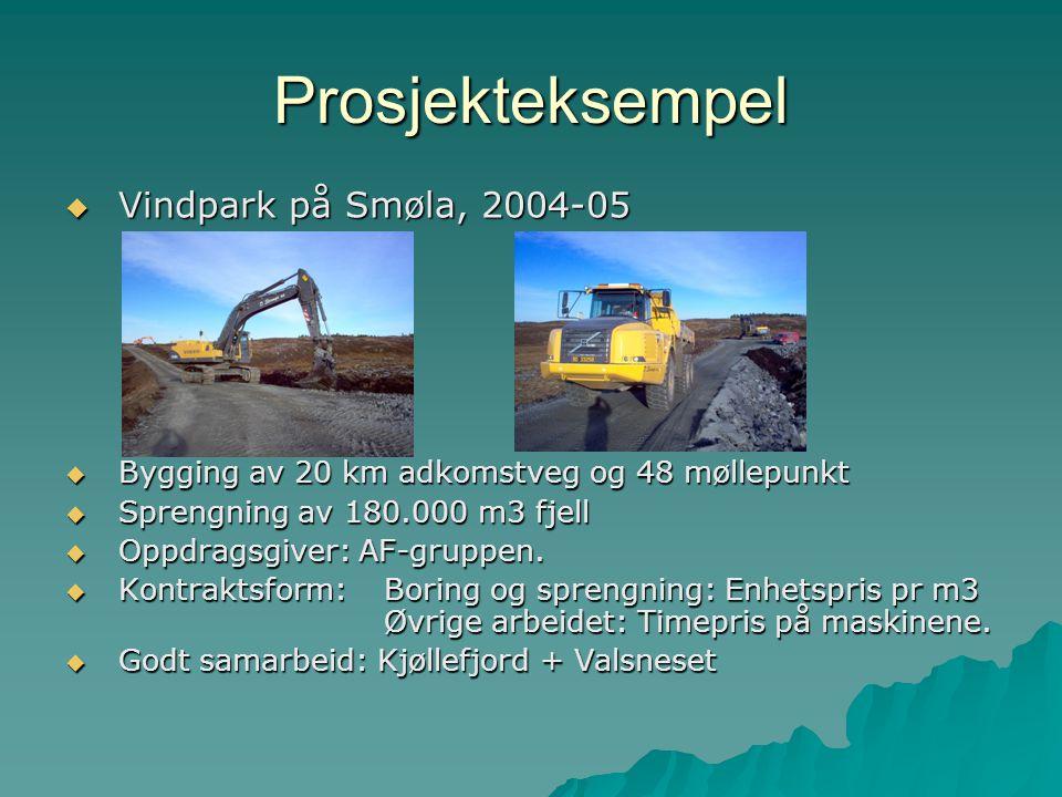 Prosjekteksempel  Vindpark på Smøla, 2004-05  Bygging av 20 km adkomstveg og 48 møllepunkt  Sprengning av 180.000 m3 fjell  Oppdragsgiver: AF-grup