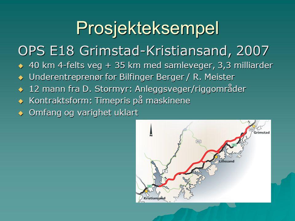 Prosjekteksempel OPS E18 Grimstad-Kristiansand, 2007  40 km 4-felts veg + 35 km med samleveger, 3,3 milliarder  Underentreprenør for Bilfinger Berger / R.