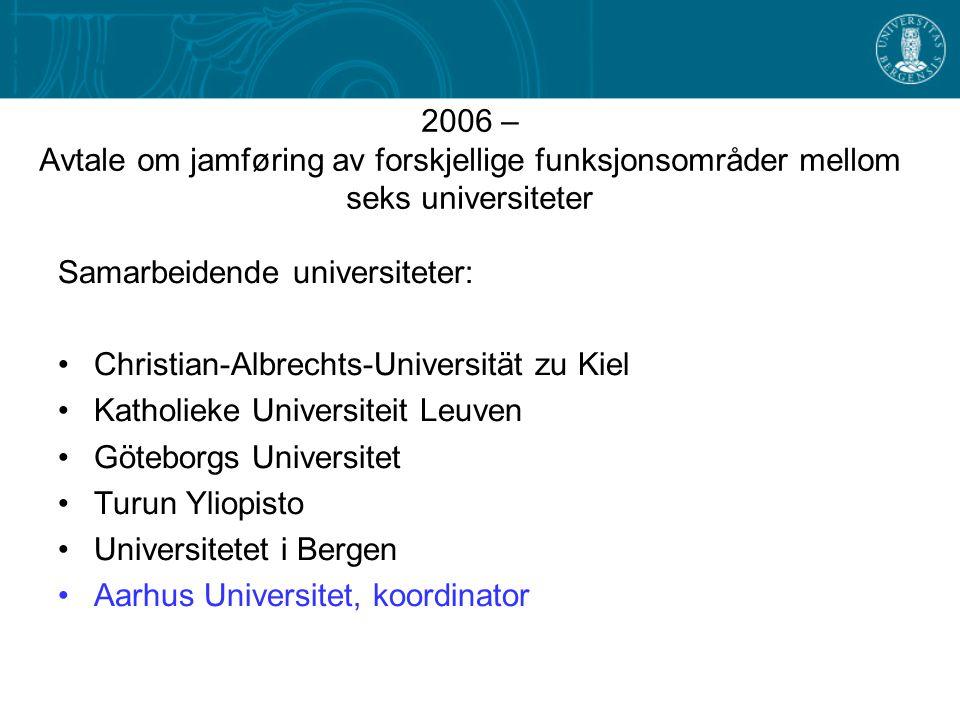 2006 – Avtale om jamføring av forskjellige funksjonsområder mellom seks universiteter Samarbeidende universiteter: •Christian-Albrechts-Universität zu
