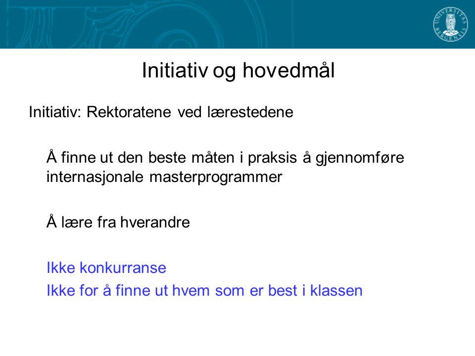 Initiativ og hovedmål Initiativ: Rektoratene ved lærestedene Å finne ut den beste måten i praksis å gjennomføre internasjonale masterprogrammer Å lære