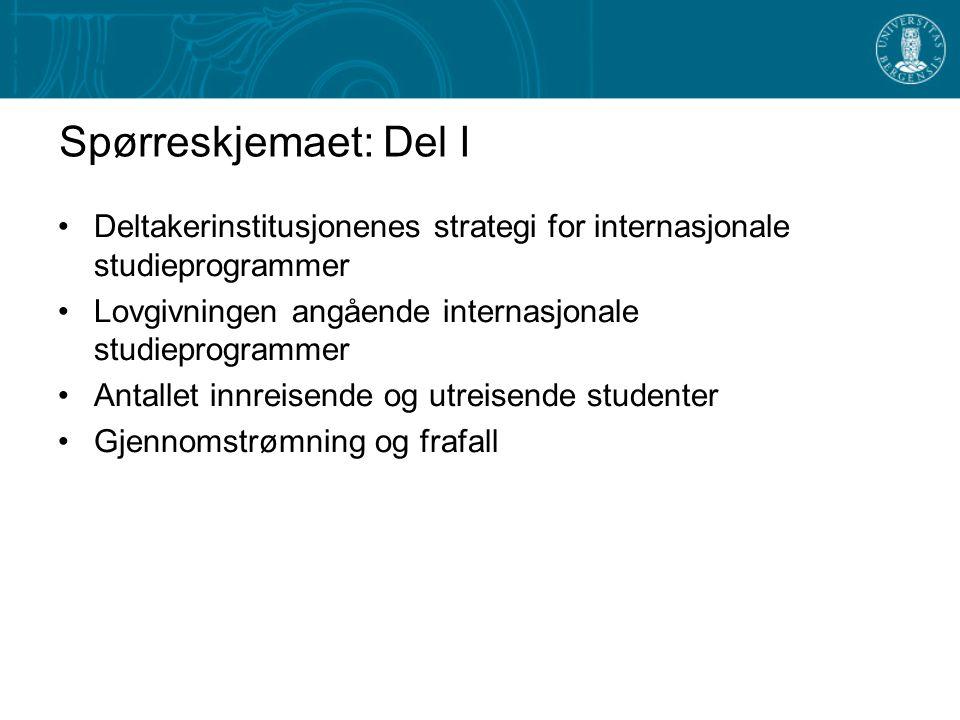 Spørreskjemaet: Del I •Deltakerinstitusjonenes strategi for internasjonale studieprogrammer •Lovgivningen angående internasjonale studieprogrammer •An