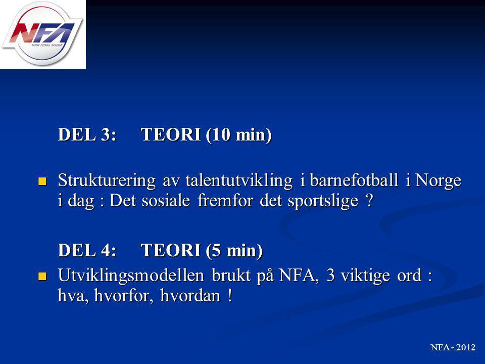 DEL 3: TEORI (10 min)  Strukturering av talentutvikling i barnefotball i Norge i dag : Det sosiale fremfor det sportslige ? DEL 4: TEORI (5 min)  Ut