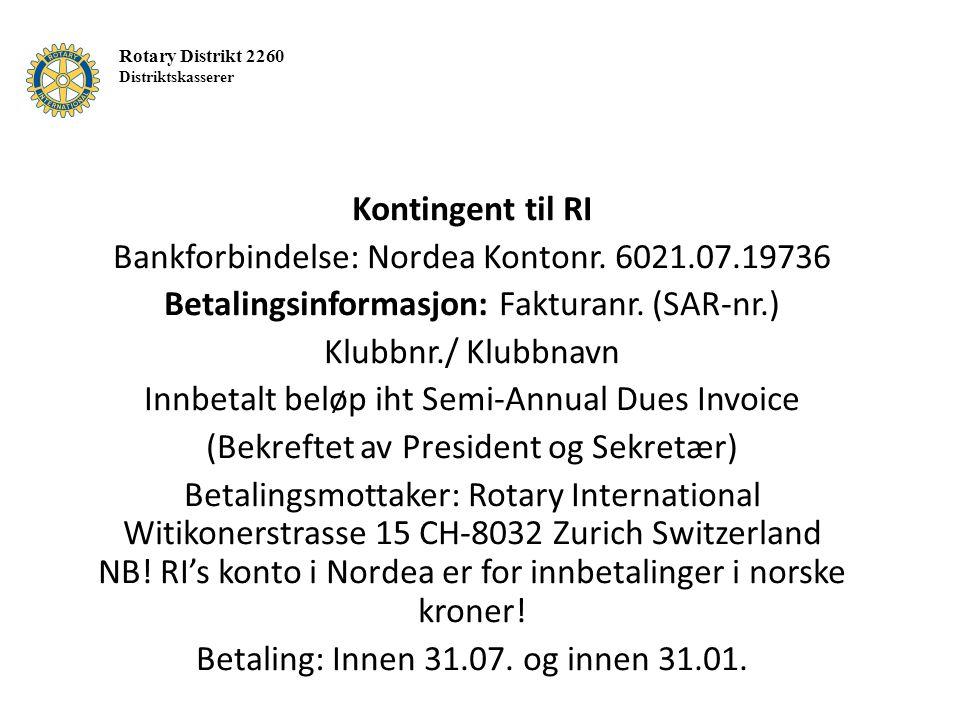 Kontingent til RI Bankforbindelse: Nordea Kontonr.