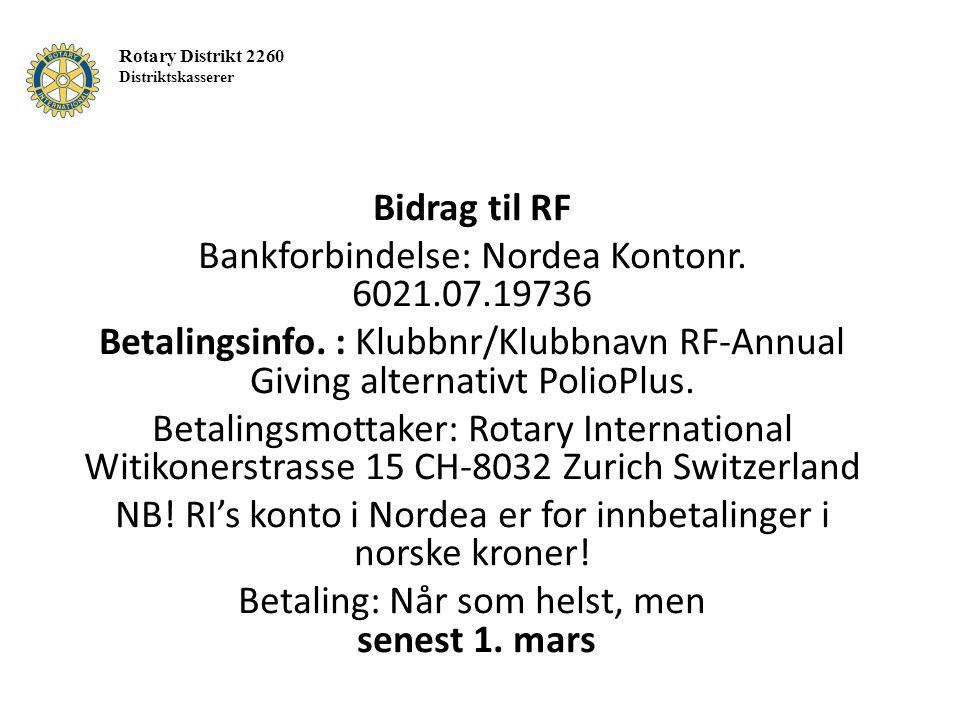 Bidrag til RF Bankforbindelse: Nordea Kontonr. 6021.07.19736 Betalingsinfo.
