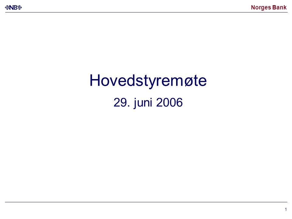 Norges Bank 1 Hovedstyremøte 29. juni 2006