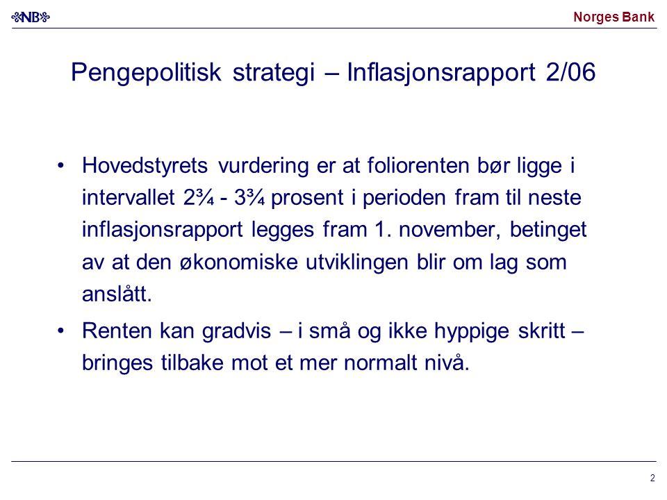 Norges Bank 2 Pengepolitisk strategi – Inflasjonsrapport 2/06 •Hovedstyrets vurdering er at foliorenten bør ligge i intervallet 2¾ - 3¾ prosent i peri