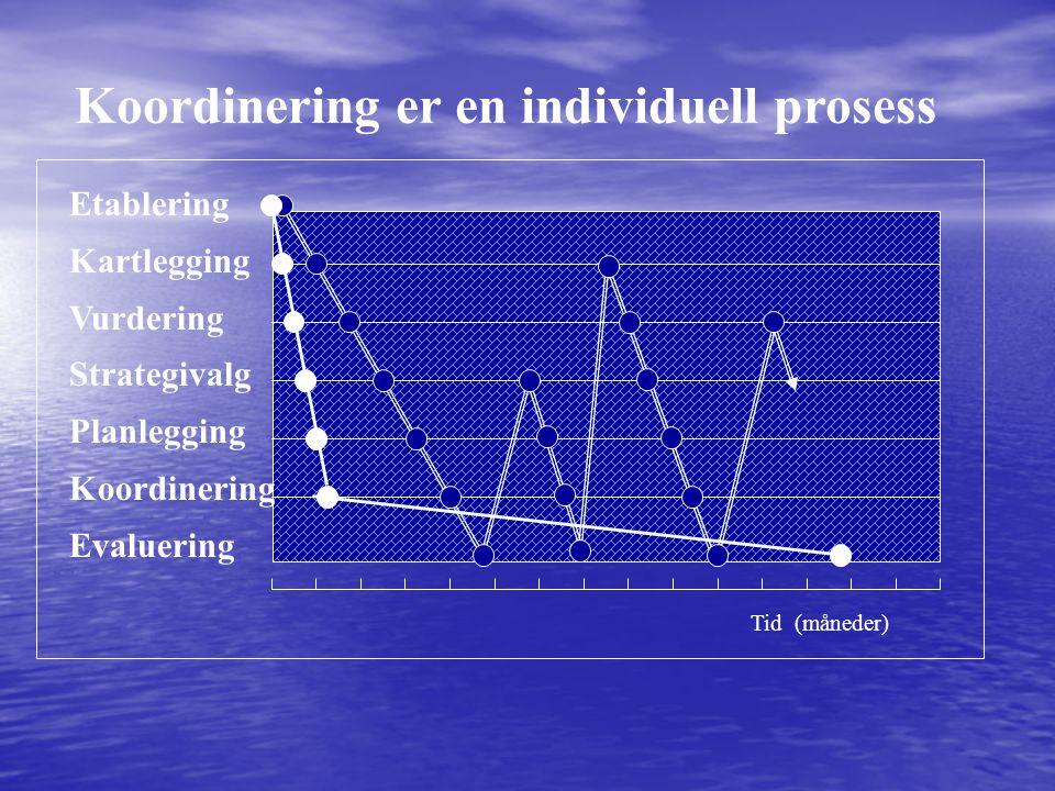 Etablering Kartlegging Vurdering Strategivalg Planlegging Koordinering Evaluering Tid (måneder) Koordinering er en individuell prosess