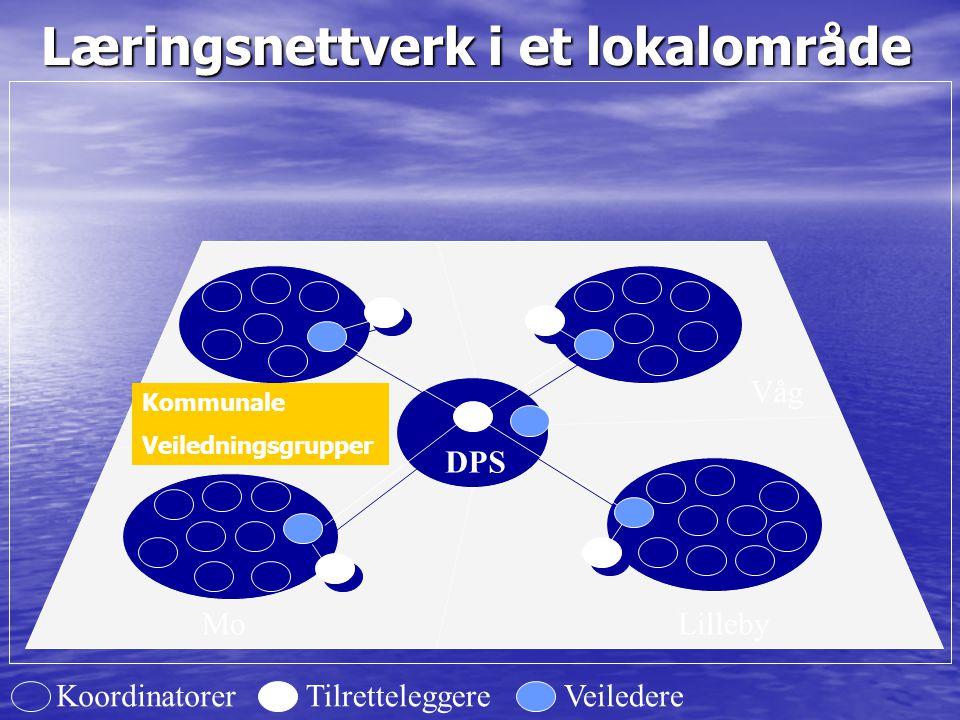 Læringsnettverk i et lokalområde DPS LillebyMo Dal Våg TilretteleggereVeiledereKoordinatorer Kommunale Veiledningsgrupper