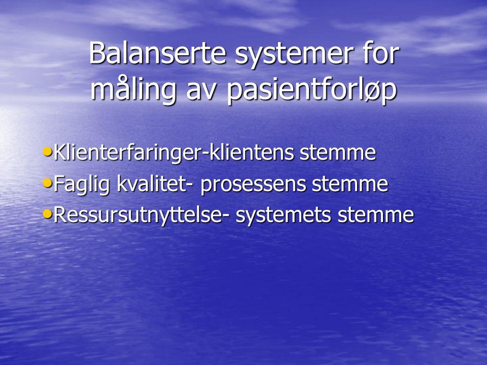 Balanserte systemer for måling av pasientforløp • Klienterfaringer-klientens stemme • Faglig kvalitet- prosessens stemme • Ressursutnyttelse- systemets stemme
