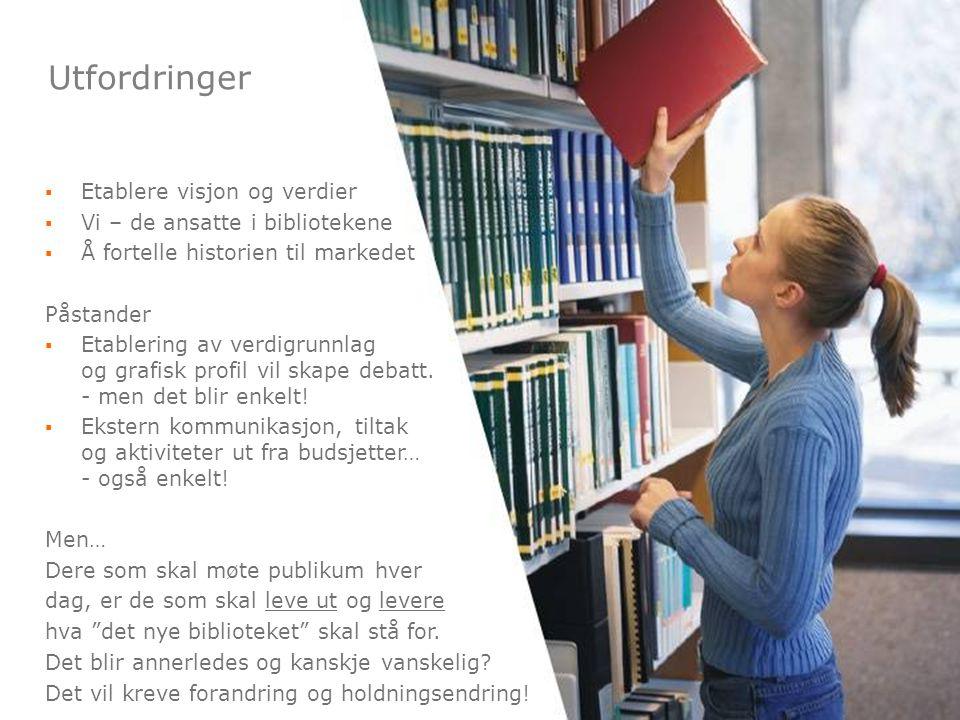 6 ▪Etablere visjon og verdier ▪Vi – de ansatte i bibliotekene ▪Å fortelle historien til markedet Påstander ▪Etablering av verdigrunnlag og grafisk pro