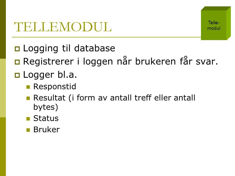 TELLEMODUL  Logging til database  Registrerer i loggen når brukeren får svar.