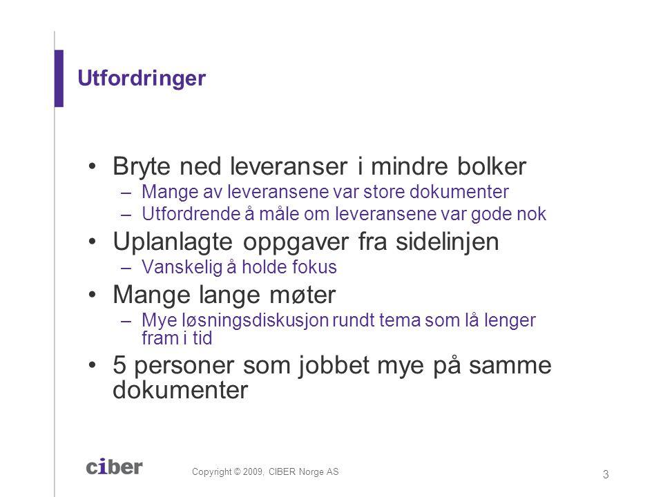 Copyright © 2009, CIBER Norge AS 3 Utfordringer •Bryte ned leveranser i mindre bolker –Mange av leveransene var store dokumenter –Utfordrende å måle o