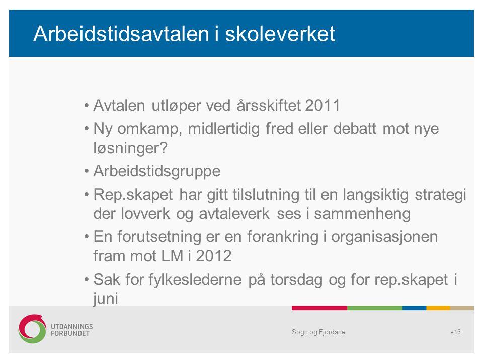 Arbeidstidsavtalen i skoleverket •Avtalen utløper ved årsskiftet 2011 •Ny omkamp, midlertidig fred eller debatt mot nye løsninger? •Arbeidstidsgruppe