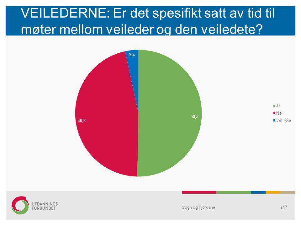 VEILEDERNE: Er det spesifikt satt av tid til møter mellom veileder og den veiledete? Sogn og Fjordanes17