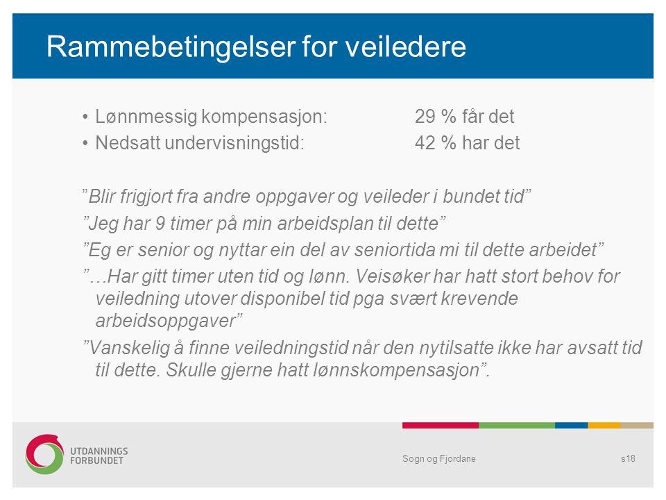 """Rammebetingelser for veiledere •Lønnmessig kompensasjon:29 % får det •Nedsatt undervisningstid:42 % har det """"Blir frigjort fra andre oppgaver og veile"""