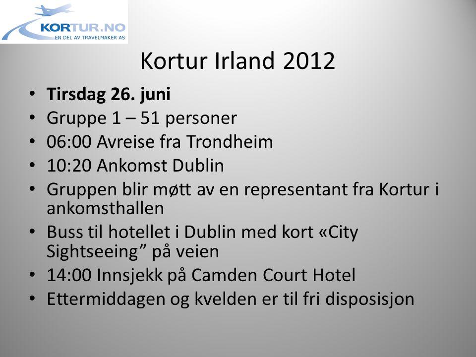 Kortur Irland 2012 • Tirsdag 26.