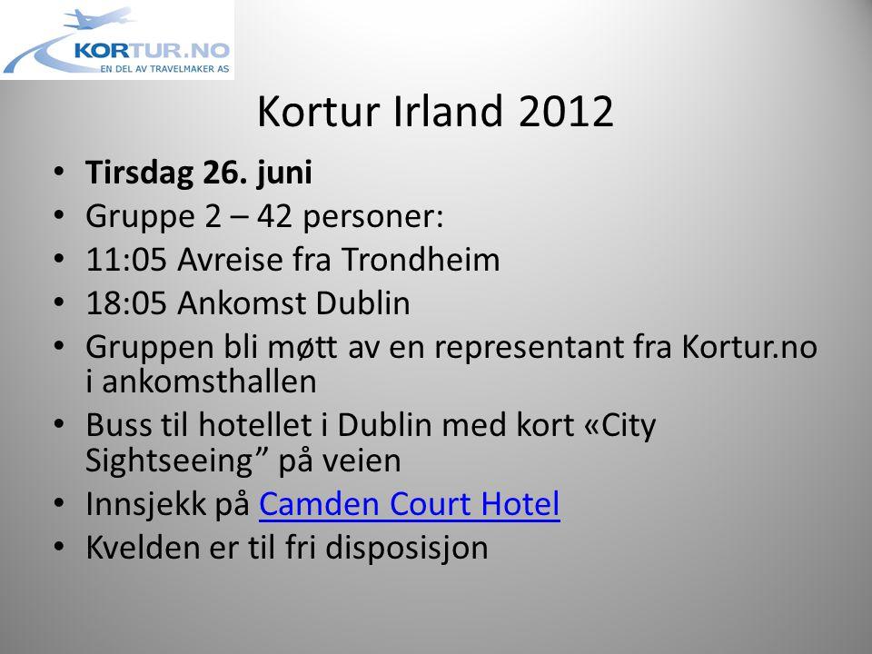 Kortur Irland 2012 • Søndag 1.