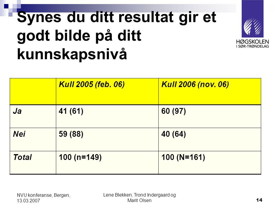 Lene Blekken, Trond Indergaard og Marit Olsen14 NVU konferanse, Bergen, 13.03.2007 Synes du ditt resultat gir et godt bilde på ditt kunnskapsnivå Kull 2005 (feb.