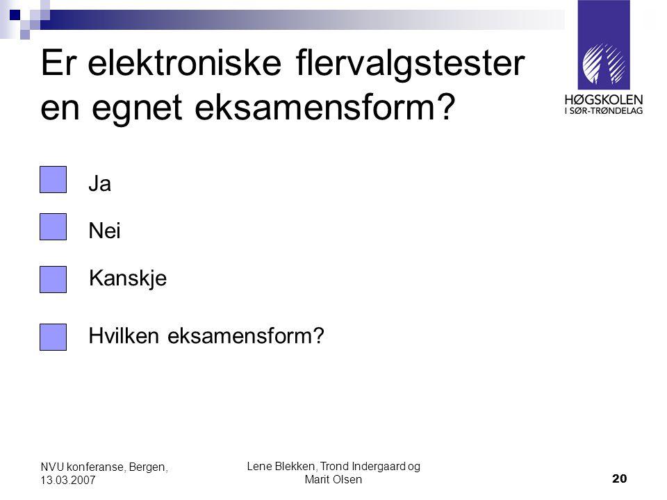 Lene Blekken, Trond Indergaard og Marit Olsen20 NVU konferanse, Bergen, 13.03.2007 Er elektroniske flervalgstester en egnet eksamensform.