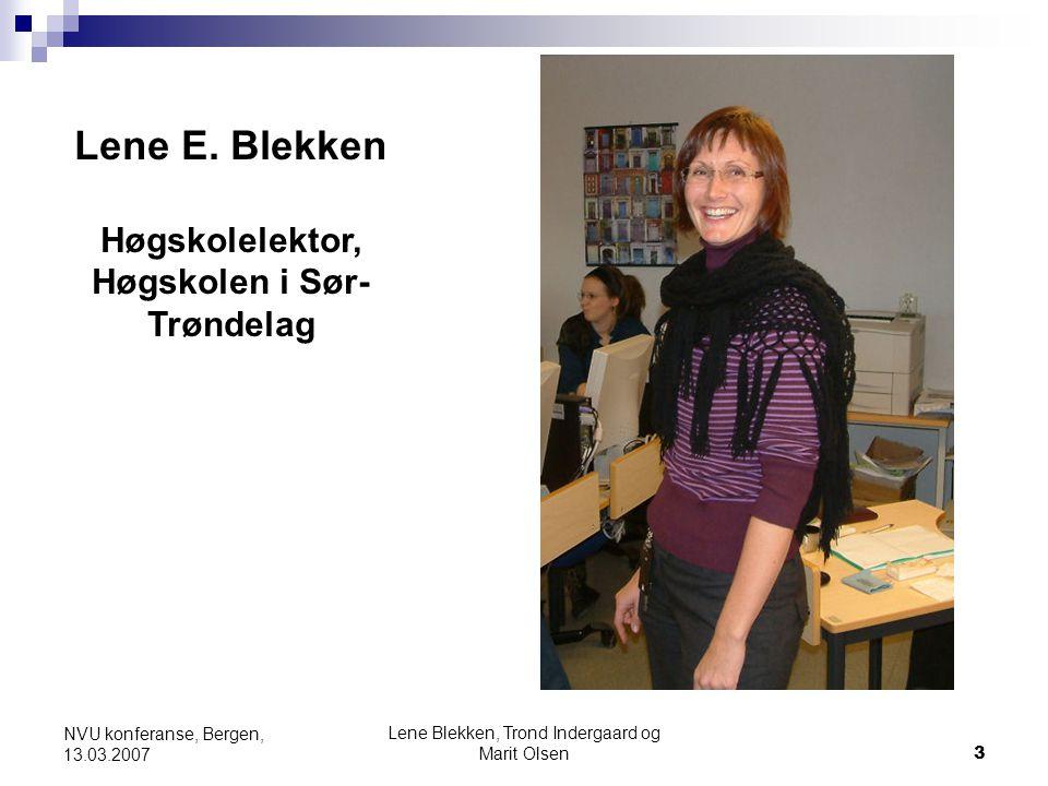 Lene Blekken, Trond Indergaard og Marit Olsen3 NVU konferanse, Bergen, 13.03.2007 Lene E. Blekken Høgskolelektor, Høgskolen i Sør- Trøndelag