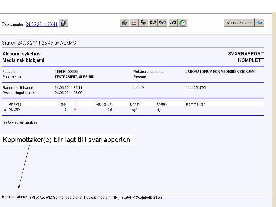 Kopimottaker(e) blir lagt til i svarrapporten