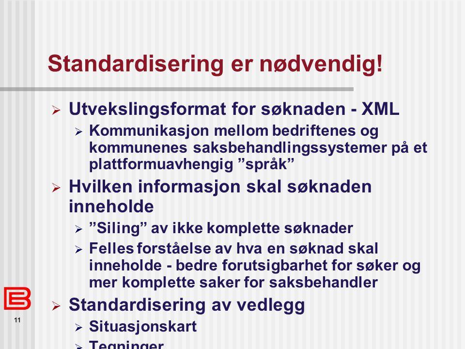 11 Standardisering er nødvendig!  Utvekslingsformat for søknaden - XML  Kommunikasjon mellom bedriftenes og kommunenes saksbehandlingssystemer på et