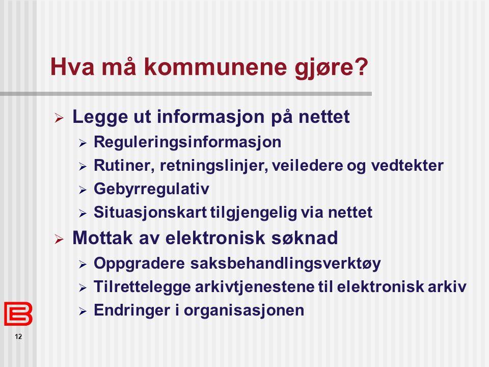 12 Hva må kommunene gjøre?  Legge ut informasjon på nettet  Reguleringsinformasjon  Rutiner, retningslinjer, veiledere og vedtekter  Gebyrregulati
