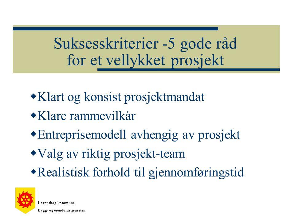 Suksesskriterier -5 gode råd for et vellykket prosjekt  Klart og konsist prosjektmandat  Klare rammevilkår  Entreprisemodell avhengig av prosjekt  Valg av riktig prosjekt-team  Realistisk forhold til gjennomføringstid Lørenskog kommune Bygg- og eiendomstjenesten