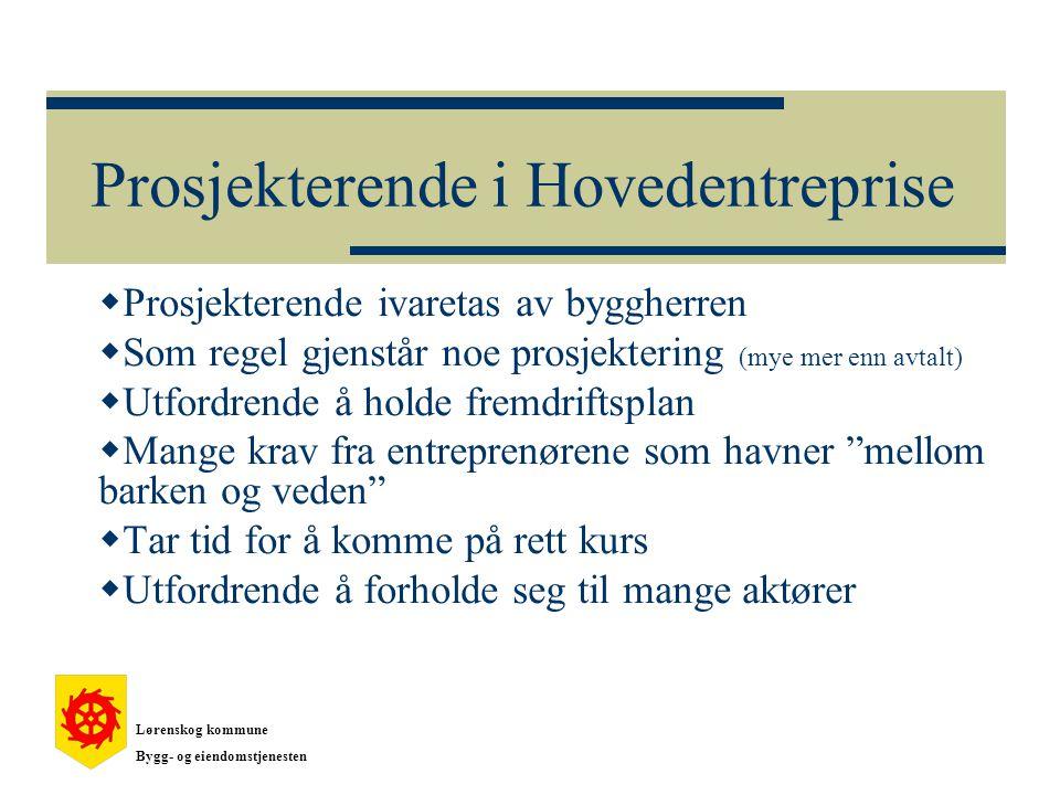Prosjekterende i Hovedentreprise  Prosjekterende ivaretas av byggherren  Som regel gjenstår noe prosjektering (mye mer enn avtalt)  Utfordrende å h